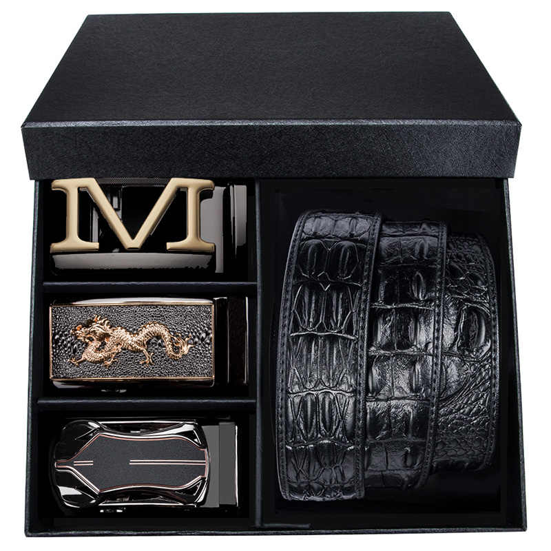 Luxury Brand Box Belt Crocodile Belts for Men Genuine Leather Cowboy Belt Male Designer Ratchet Buckle leather belt men