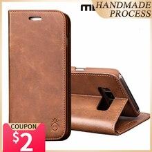 Musubo Funda de cuero con tapa y soporte para Galaxy S20 Ultra Note 9, Samsung S10 Plus + S10e S9, billetera para tarjetas