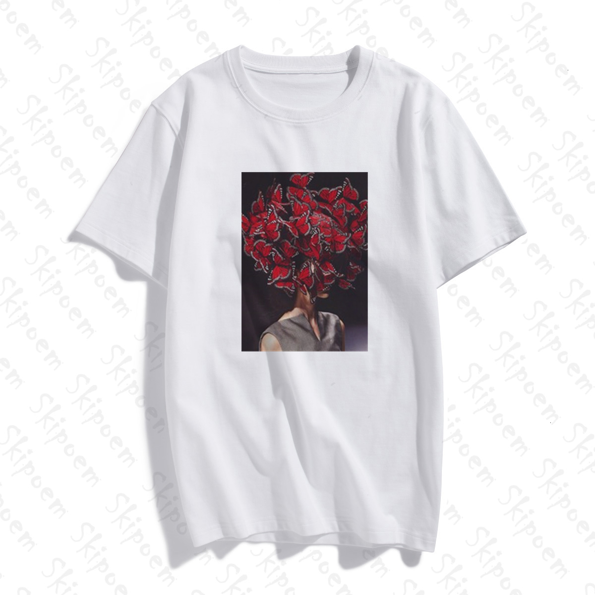 2020 New Butterflyr T-shirt Women Kawaii Vintage Tumblr Punk Gothic Aesthetic Plus Size Short Sleeve Cotton Clothes Streetwear