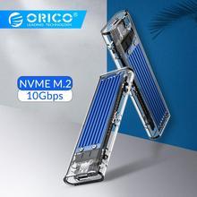 ORICO прозрачный NVME M.2 для Тип-C SSD чехол M ключ внешний USB3.1 Gen2 10 Гбит/с мини USB C SSD корпус Поддержка UASP 2 ТБ JMS578