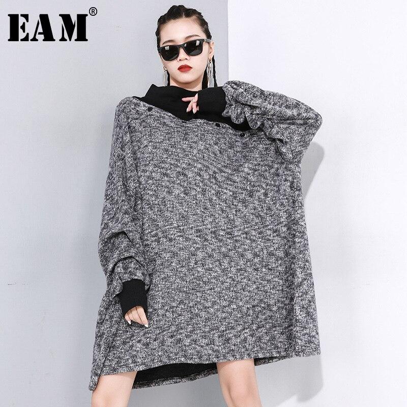[EAM] Loose Fit Gray Button Split Joint Big Size Sweatshirt New Turtleneck Long Sleeve Women Big Size Fashion Spring 2020 1N494
