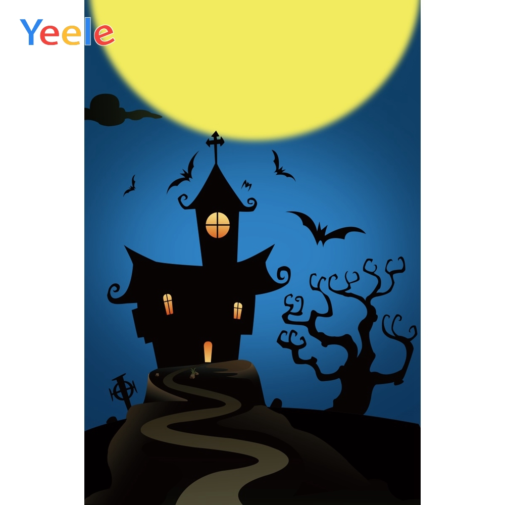 Yeele Halloween Photocall Moon Bats Castle Tombs Photography Backdrops Personalized Photographic Backgrounds For Photo Studio in Background from Consumer Electronics