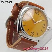 47mm parnis laranja estéril dial polido caixa de aço inoxidável marca superior luxo 17 jóias mão enrolamento movimento relógio masculino|Relógios mecânicos| |  -