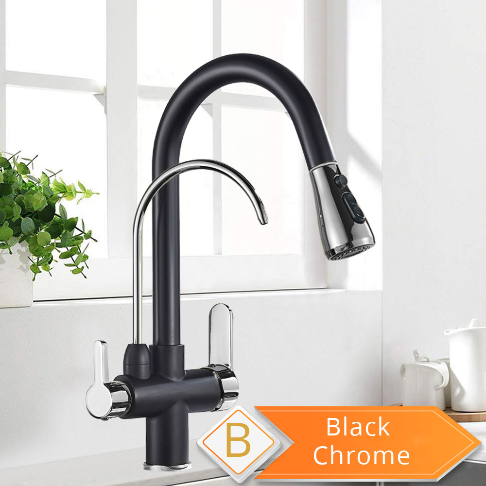 Hccd6d714977e45cabd1ba89cf041fcbaT Black and Golden Filtered Crane For Kitchen Pull Out Sprayer drinking water Three Ways Water Filter Tap Kitchen Faucet hot cold
