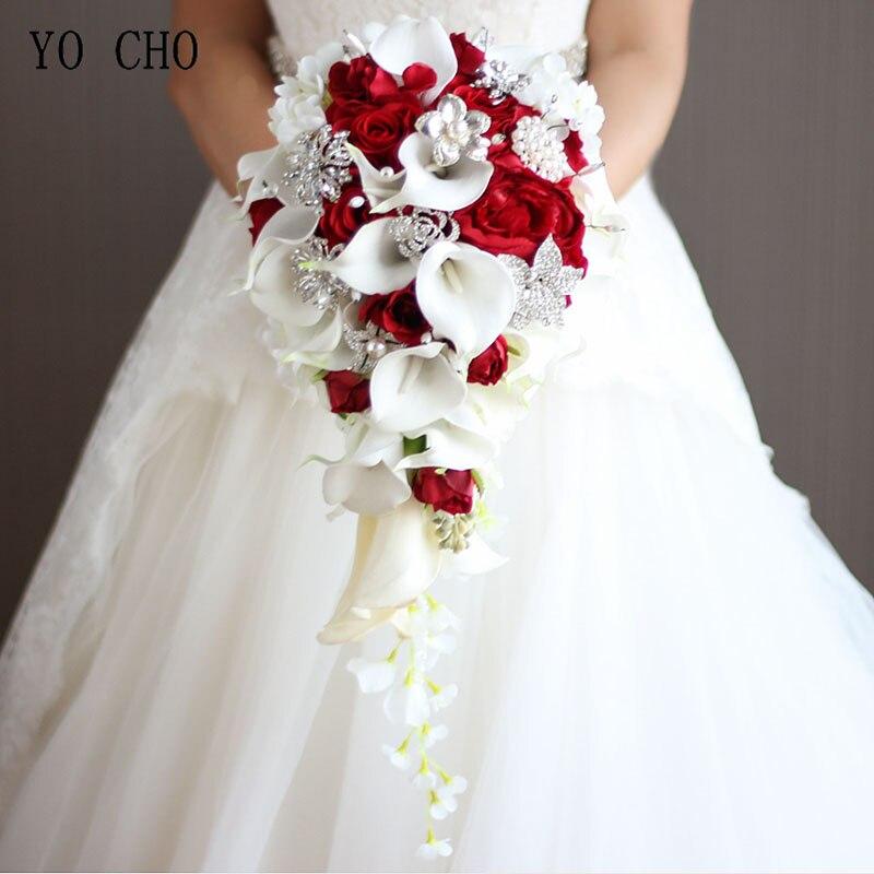 YO CHO Wedding Bouquet Bride Waterfall Wedding Flower Artificial Silk Rose Calla Lily Pink Fake Diamond Pearl Luxurious Bouquets