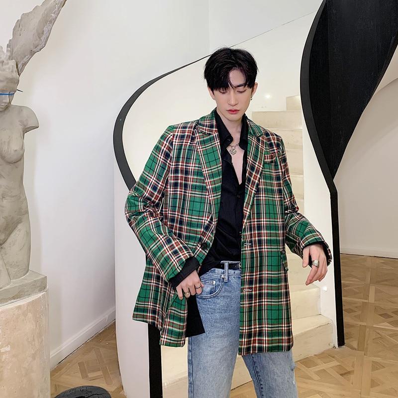 Men Vintage Green Plaid Fashion Casual Suit Coat Male Japan Korea Streetwear Suit Blazer Jacket Outerwear