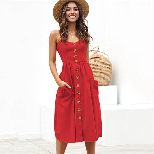 Boho Sexy Floral Dress Summer Vintage Casual Sundress Female Beach Dress Midi Button Backless Polka Dot Striped Women Dress2020  24