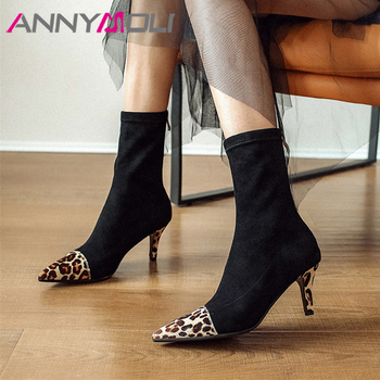 ANNYMOLI Autumn Ankle Boots Women Boots Horsehair Zipper Thin High Heel Elastic Boots Leopard Slim Stretch Shoes Female Size 39