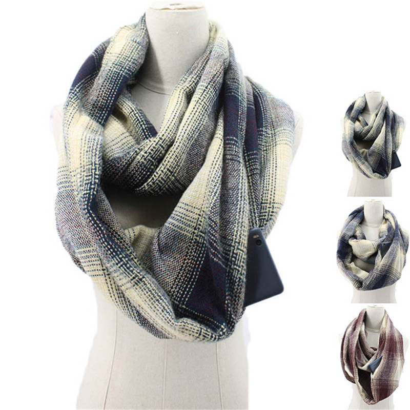 2019 Plaid Winter Scarf With Pocket Knitted Warm Convertible Journey Women&Man Wrap With Secret Hidden Zipper Pocket Infinity