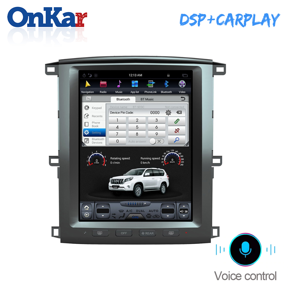 ONKAR Car Radio For <font><b>Toyota</b></font> <font><b>Land</b></font> <font><b>Cruiser</b></font> <font><b>LC200</b></font> 2003 2004 2005 2006 2007 Tesla Style Car Multimedia Player <font><b>Android</b></font> 8.1 4GB+32GB image