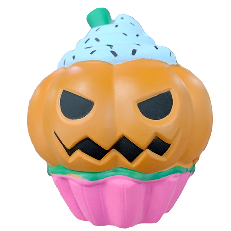 Jumbo Halloween Ice Cream Pumpkin Squeeze Cute Squishy Slow Rising Soft Straps Scented Joke Stress Relief For Kid Fun Xmas Toy