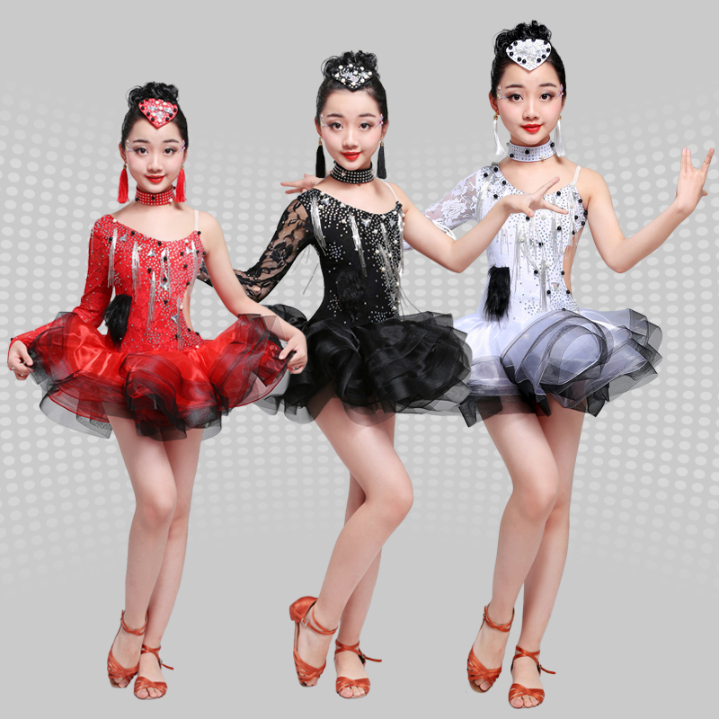 Children's Latin Dance Costumes, High-end New Style Girls, Latin Dance Skirts, Performance Clothing, Dance Skirt