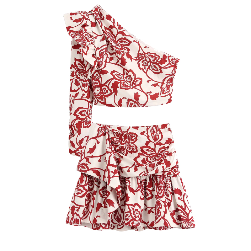 2020 New Women Summer Suits Two Piece Set Red Printed Poplin Asymmetric Neckline One Sleeve Ruffle Trims Top&mini Skirts