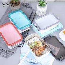 Stainless Steel Plastic Easy Clean Lunch Box Portable Food Container For Kids Bento Kitchen Tableware Accessories