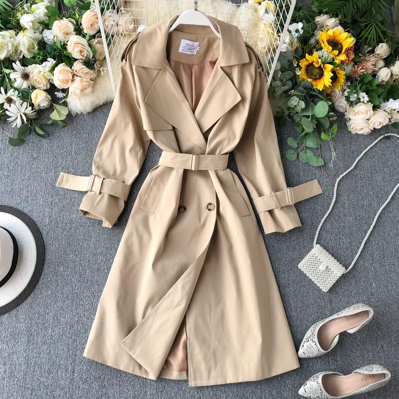 Foamlina Women Windbreaker 2019 Autumn Winter Long   Trench   Coat Turn Down Collar Long Sleeved Double Breated Casual Long Coat