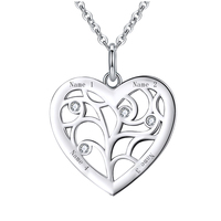 SG personalise 925 sterling silver tree of Life Heart necklaces for women gifts Custom birthstone and engraving name jewelry