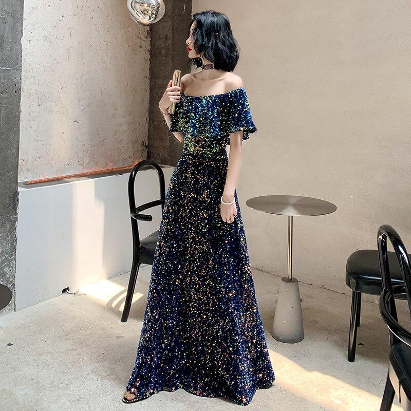 2020 New Sequins Evening Dress Long Vintage Prom Dress Shiny Off The Shoulder Evening Gown A-Line Banquet Formal Evening Dress