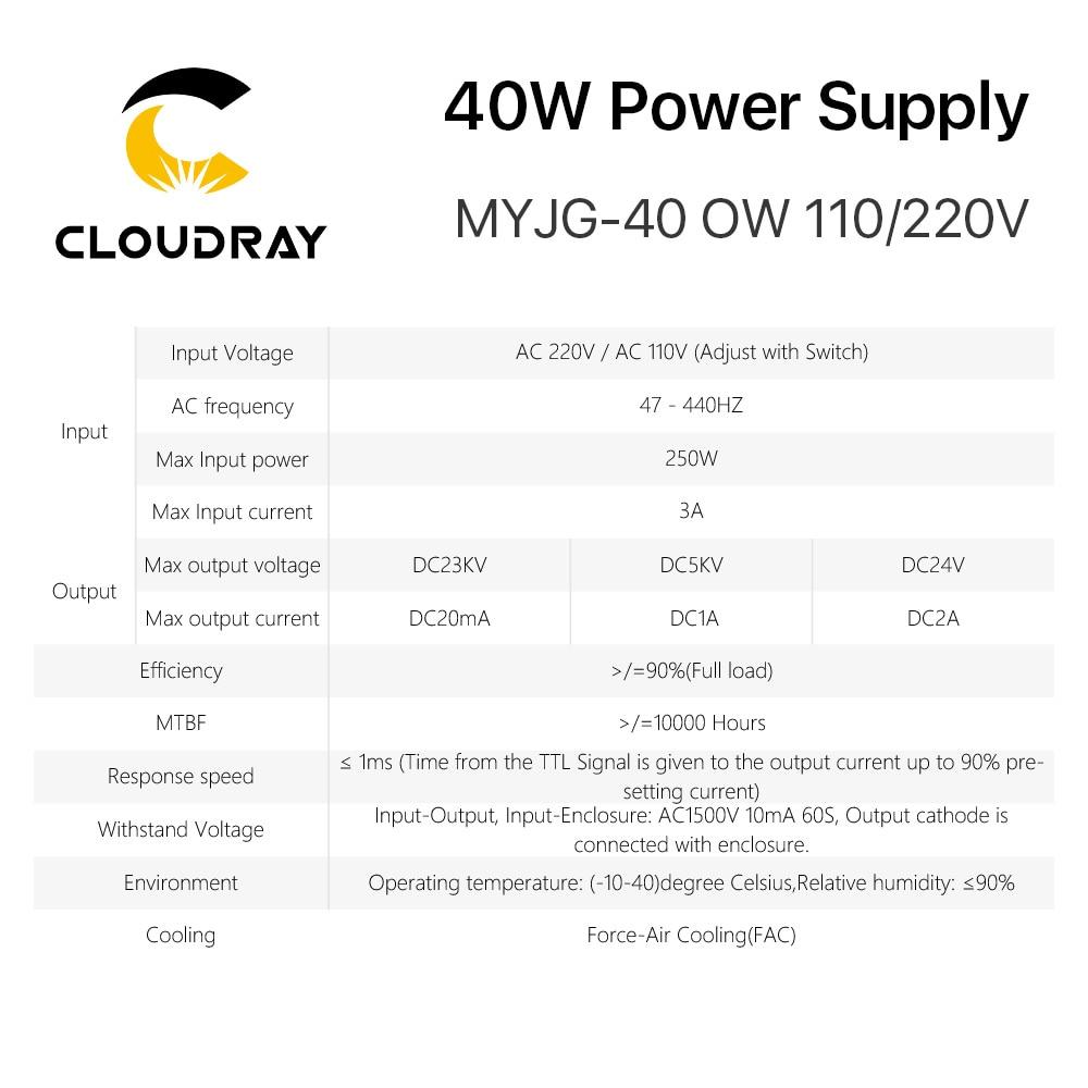 Alimentatore laser CO2 Cloudray 40W 110 V / 220 V per macchina da - Parti di macchine per la lavorazione del legno - Fotografia 6