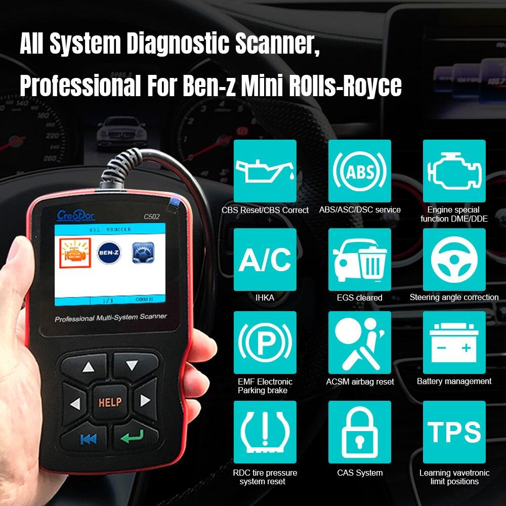 Creator C502 OBD2 Scanner OBDII Motor Code Reader Für Mercedes Benz Volle System Auto Diagnose Werkzeug Öl Reset-Code Reader