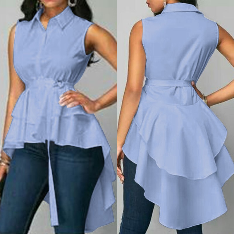 2020 ZANZEA Stylish Women's Asymmetrical Blouse Sleeveless Tops Casual High Low Shirts Female Button Blusa Belted Summer Tunic