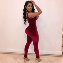 Hollow Out Sexy Jumpsuit Women Deep V Neck Long Romper Casual Gold Rings Spliced Club Velvet Overall(China)