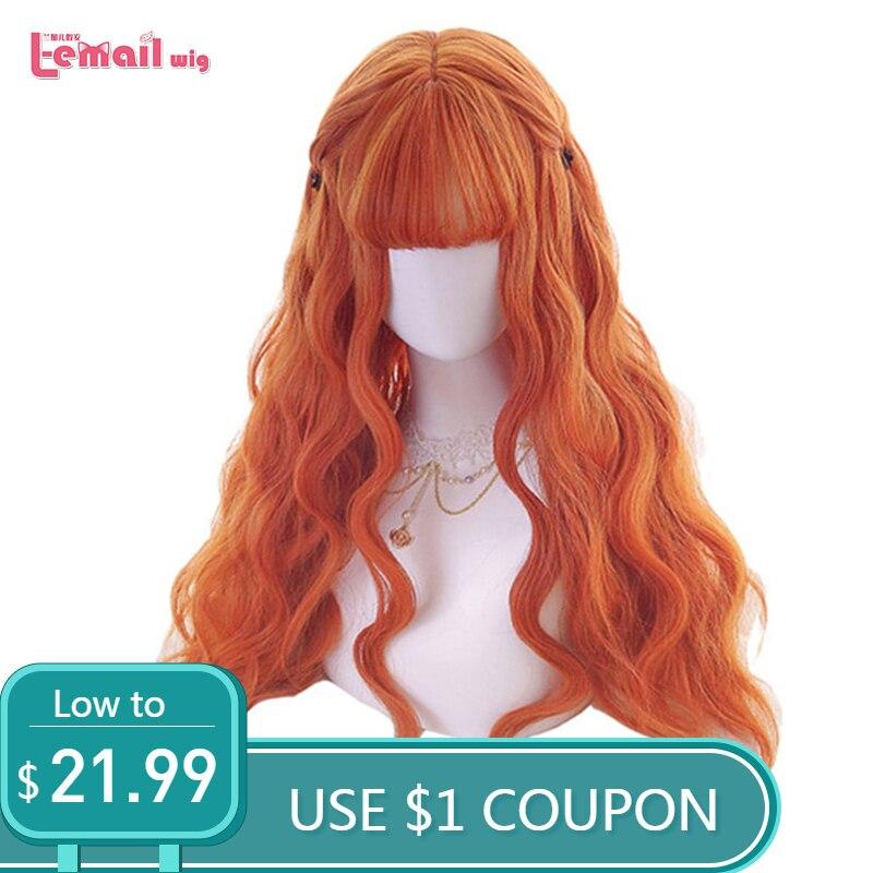 L-e-mail peruca 70cm longo laranja lolita perucas mulher onda de cabelo cosplay peruca resistente ao calor cabelo sintético perucas