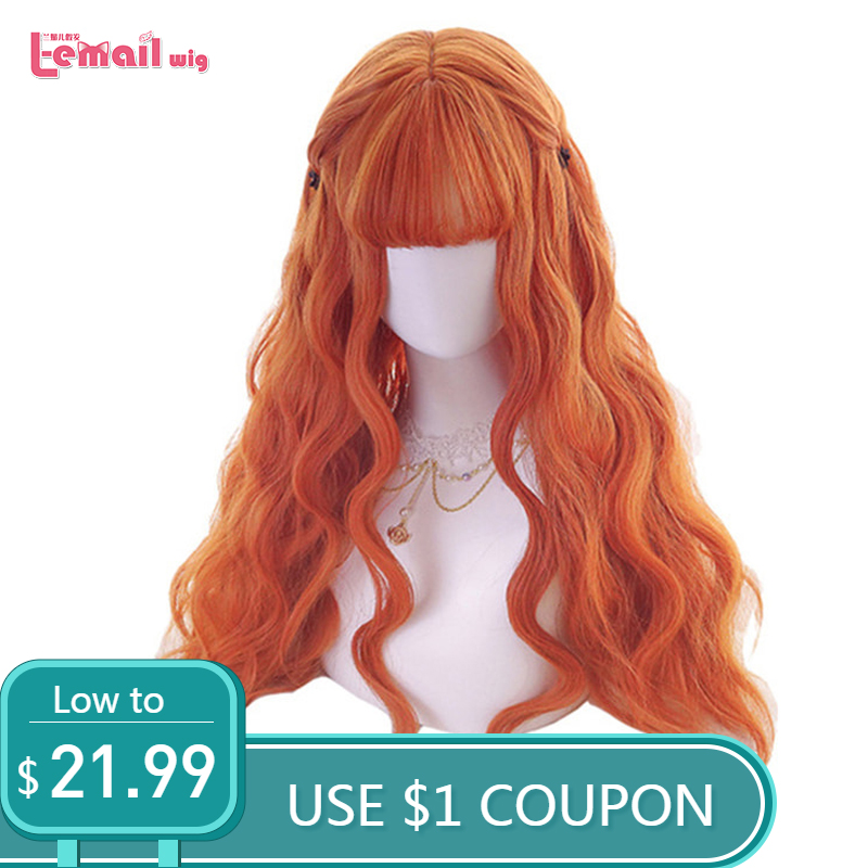 L email Wig 70cm Long Orange Lolita Wigs Woman Hair Wave Cosplay Wig Heat Resistant Synthetic Hair Perucas-in Synthetic None-Lace  Wigs from Hair Extensions & Wigs