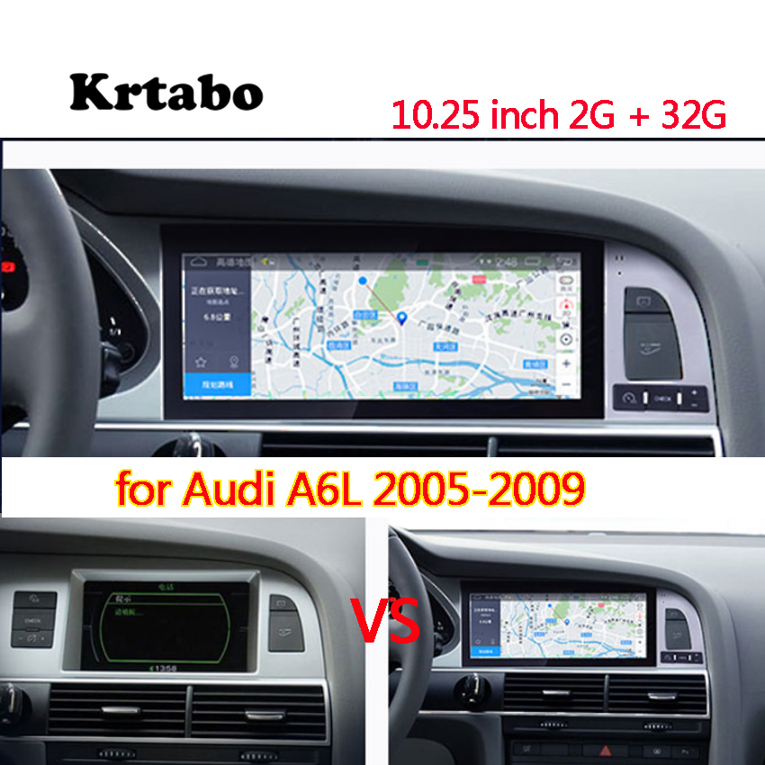 Car radio <font><b>Android</b></font> multimedia player for <font><b>Audi</b></font> A6L 2005 2006 2007 2008 2008 10.25inch touch screen GPS Carplay image