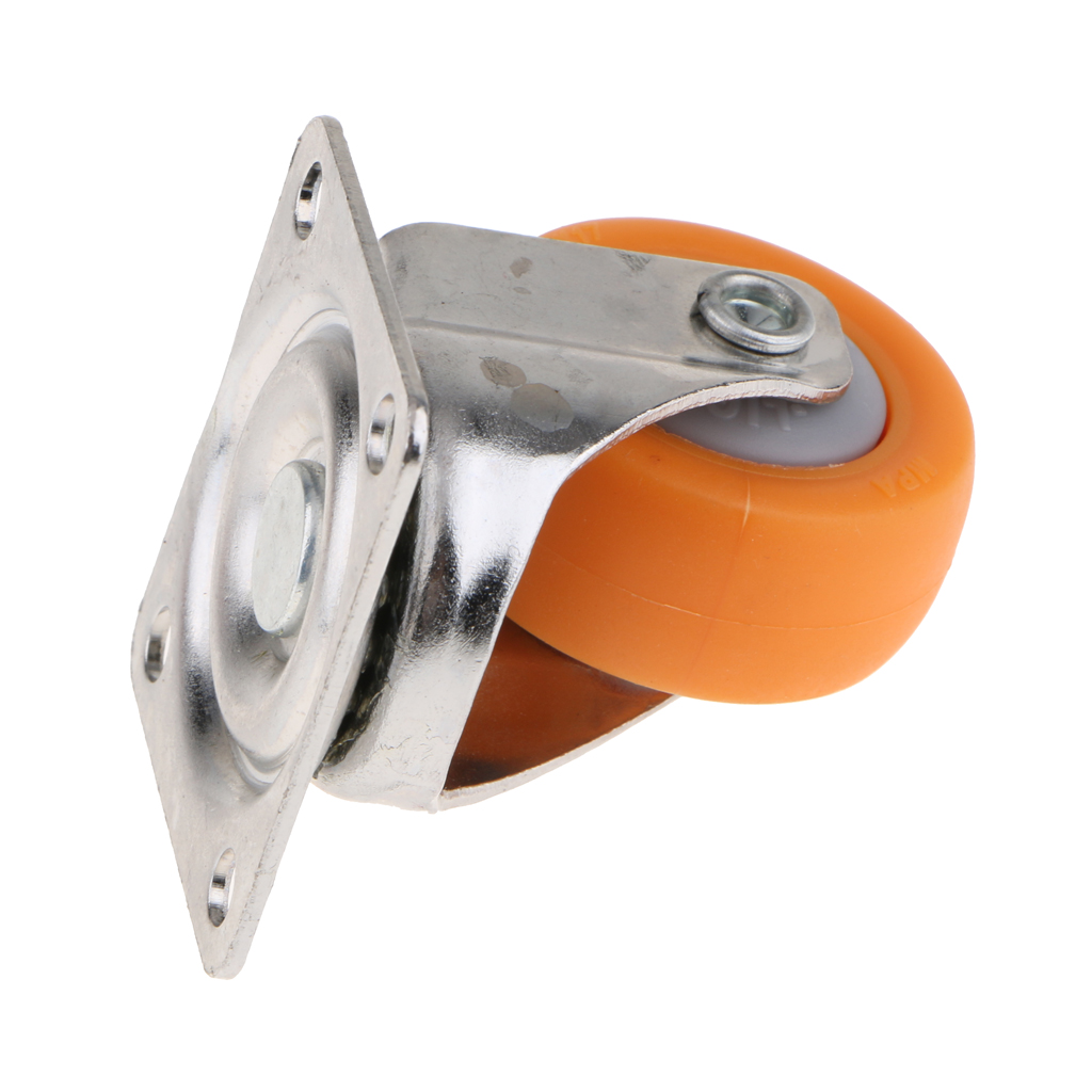 4 pcs Supermarket Nylon Trolley Swivel Caster Wheel with Mounting Plate 1.5''