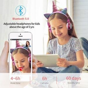 Image 4 - 귀여운 유니콘 블루투스 5.0 헤드폰 무선 여자 아이 만화 스테레오 헤드셋 내장 마이크 전화 게이머 이어폰 선물