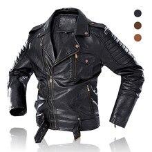 Männer Trendy Mode Motorrad Jacke 2020 Neue Männer Vintage Biker Leder Jacke Mantel Winter Fleece Casual Faux Leder Oberbekleidung