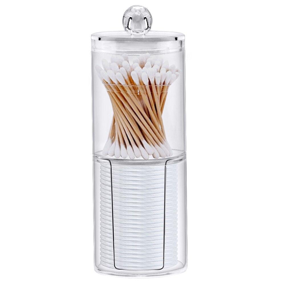 Acrylique Multifonctionnel Rond Recevoir Boîte à Bijoux Boîte Nouveau Cosmétique Maquillage Coton-tige Transparent Conteneur