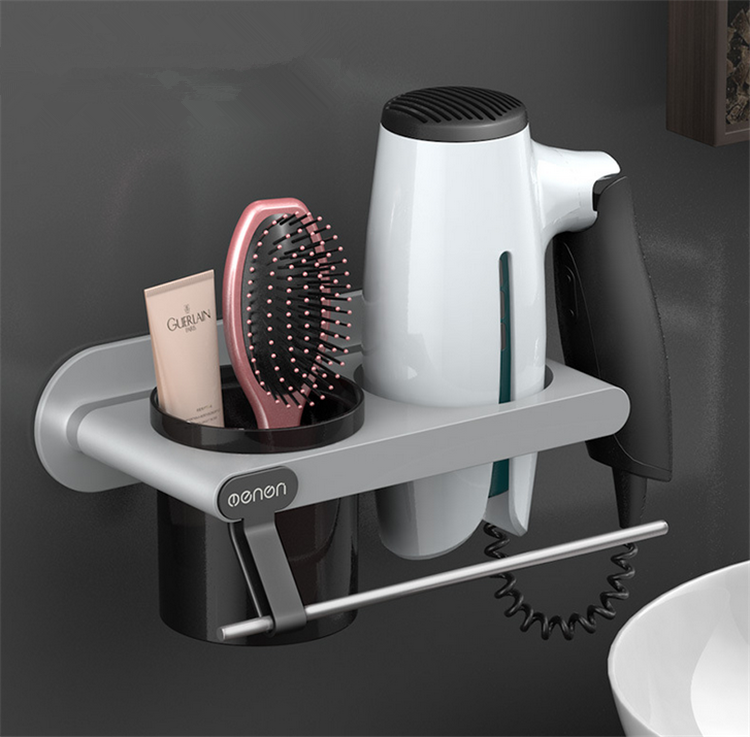 Bathroom Shelf in Bathroom Storage Hair Dryer Holder Towel Holder Bathroom Organizer Towel Rack Wall Mounted Rack