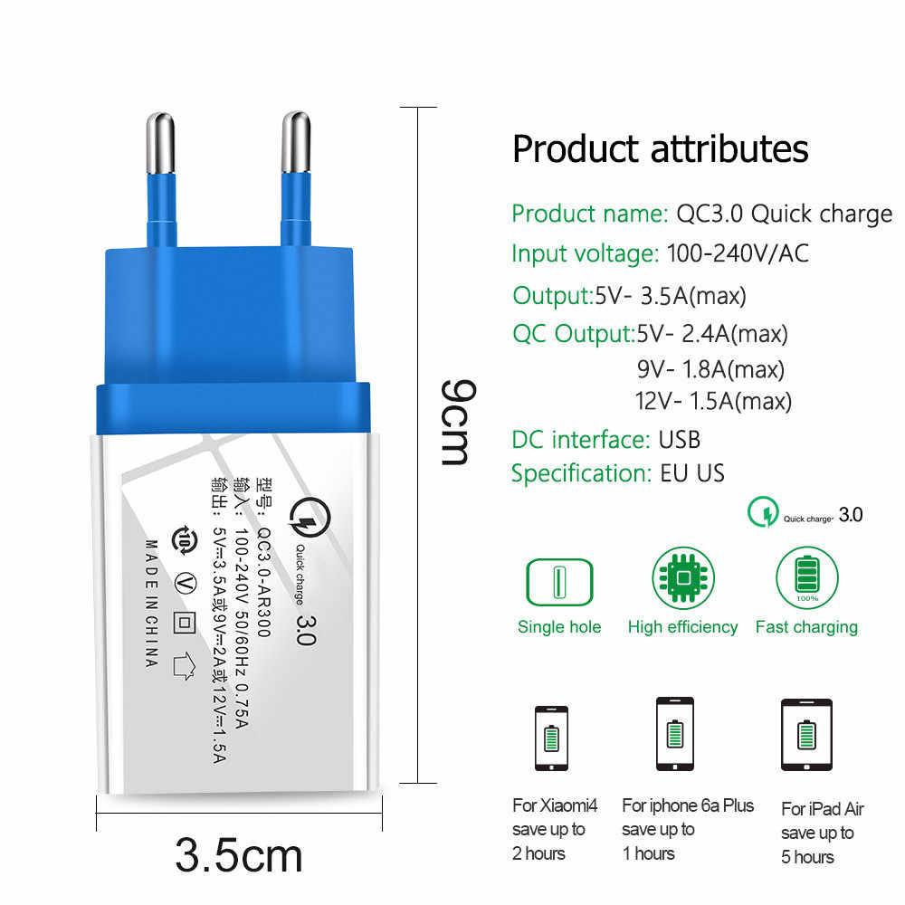 Pengisian Cepat 3.0 2.0 EU/US Plug USB Charger Dinding Perjalanan Cepat Pengisian Adaptor untuk Samsung S9 Xiaomi Tablet charger Ponsel