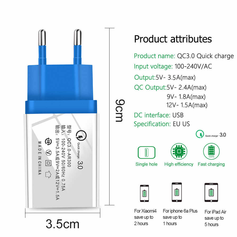 Quick Charge 3.0 2.0 EU/US Plug USB Charger Travel Wall Fast Charging Adapter For Samsung S9 Xiaomi Tablets Mobile Phone Charger