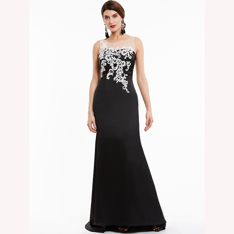 Image 3 - Dressv black long evening dress cheap scoop neck sleeveless appliques wedding party formal dress mermaid evening dresses-in Evening Dresses from Weddings & Events