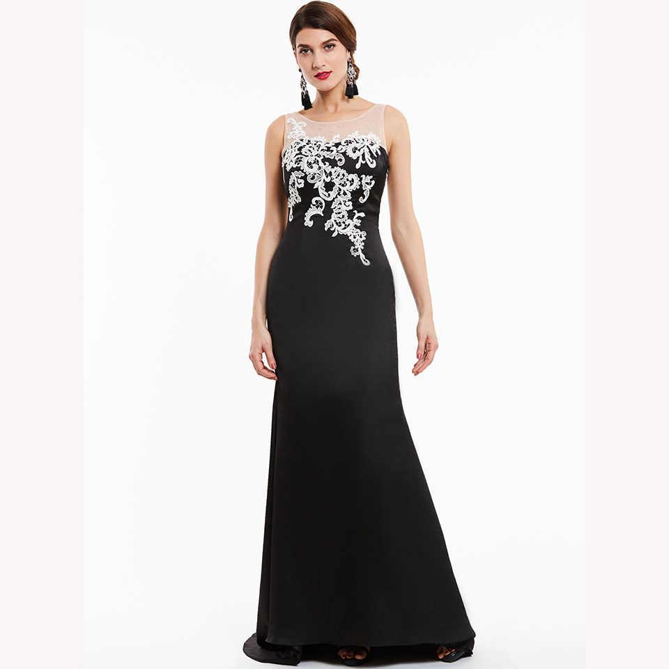 Dressv שחור ארוך שמלת ערב זול סקופ צוואר שרוולים אפליקציות חתונה מסיבת לבוש הרשמי בת ים ערב שמלות