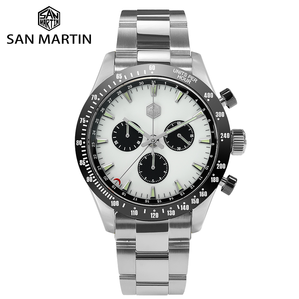 San Martin Stainless Steel Men Quartz Chronograph Watch Business Classic Swiss Ronda 5040 F Sapphire Ceramic Top Ring Luminous