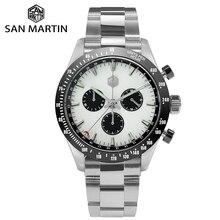 San martin aço inoxidável masculino quartzo cronógrafo relógio de negócios clássico swiss ronda 5040 f safira cerâmica anel superior luminoso