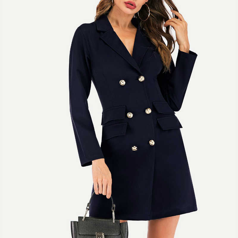 봄 우아한 드레스 여성 블랙 화이트 드레스 더블 브레스트 정장 드레스 Bodycon 미니 드레스 Vestidos Verano LWL1729