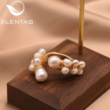 XlentAg Natural Fresh Water Baroque White Pearl Adjustable Ring For Women Handmade Cute Wedding Ring Jewelry Anelli Donna GR0190(China)