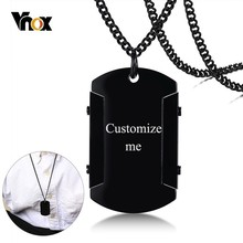 Vnox Personalize Thick Dog Tag for Men High Polished Black Stainless Steel Necklace Custom Male Jewel Gift for Him Drop Shipping