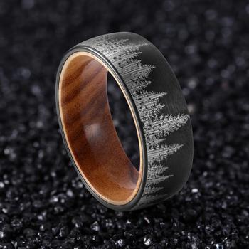 Вольфрам 8 мм черный лес кольцо в форме гор Для Мужчин's обручальное кольцо с Оливер Вуд вкладыш свободный крой, алиэкспресс на русском языке бесплатно каталог