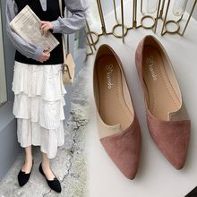 woman shoe Splice Color Flats Fashion Pointed Toe Ballerina Ballet Flat Slip On Shoes zapatos mujer 2019 обувь женская#F20(China)