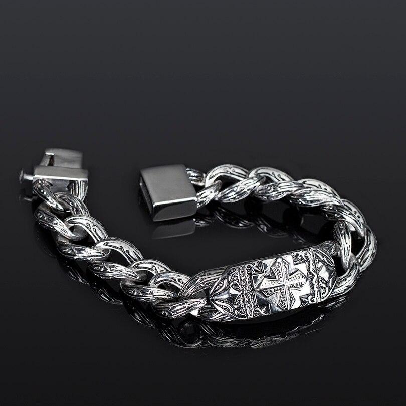 Image 3 - TrustyLan Retro Chain Link Bracelet Men 17MM Wide Heavy Cross Stainless Steel Men's Bracelets Cool Punk Male Jewelry Wristband-in Chain & Link Bracelets from Jewelry & Accessories