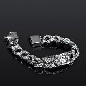 Image 3 - TrustyLan Retro Chain Link Bracelet Men 17MM Wide Heavy Cross Stainless Steel Mens Bracelets Cool Punk Male Jewelry Wristband