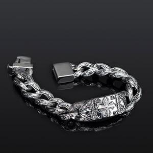 Image 3 - TrustyLan pulsera de eslabones de cadena Retro para hombre, brazalete de acero inoxidable con Cruz pesada de 17MM de ancho, Punk, joyería para hombre