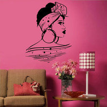 Beautiful Black Girl Woman African Hairstyle Wall Stickers Vinyl Home Decor Girls Room Teens Bedroom Interior Decals Mural 4127