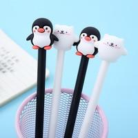 1PC Cartoon polar bär oder pinguin unterschrift gel stift  nette schwarz und weiß tier weiche gummi stift büro großhandel auf