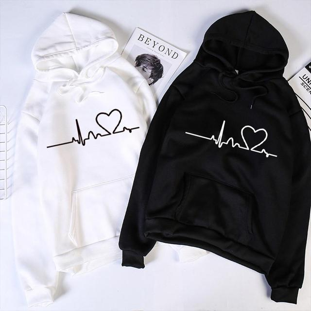 Valentine's Day Hoodies For Couples Autumn Spring Harajuku Heart Print Long Sleeve Hooded Sweatshirt Casual Pullover Tops Women 1